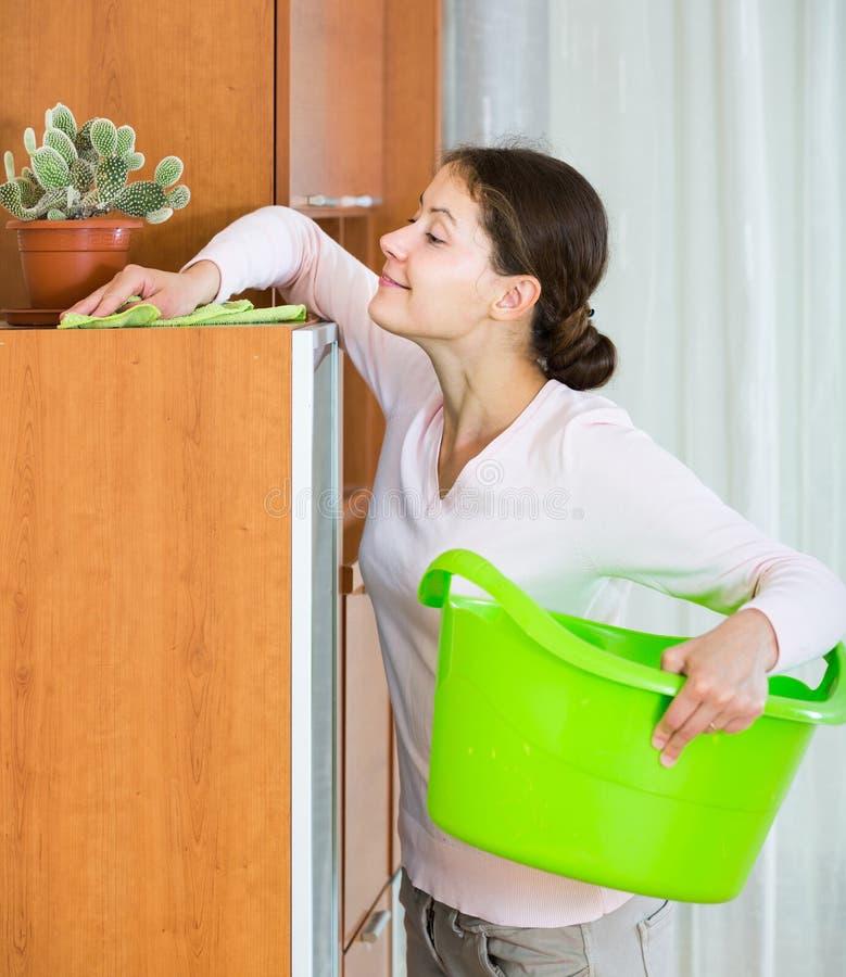 A dona de casa que faz o regular limpa na sala de visitas foto de stock