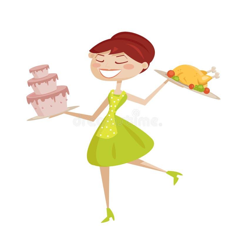 Download Dona De Casa Retro Feliz Isolada Ilustração do Vetor - Ilustração de cozinhar, retro: 16853088