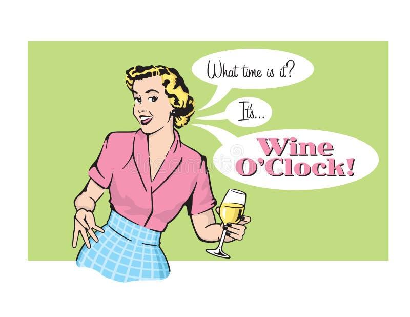 Dona de casa retro Vetora Graphic de O'Clock do vinho ilustração do vetor