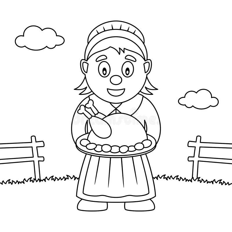 Dona de casa Woman da ação de graças da coloração ilustração do vetor