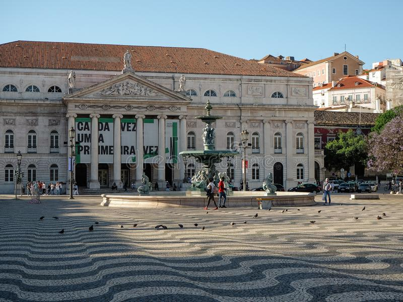 Dona Maria II National Theatre in Lisbon royalty free stock photography