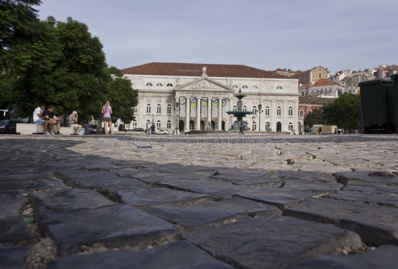 Dona Maria National Theatre in Lissabon royalty-vrije stock afbeelding