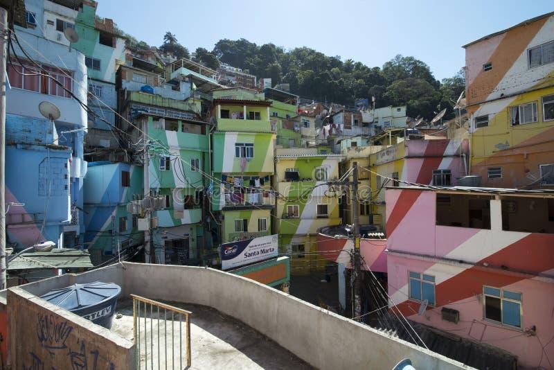 Dona Marta Slum. RIO DE JANEIRO, RJ - BRAZIL, AUGUST, 15, 2015 - Community Santa Marta, first pacified favela in the city of Rio de Janeiro, some social work is stock photography