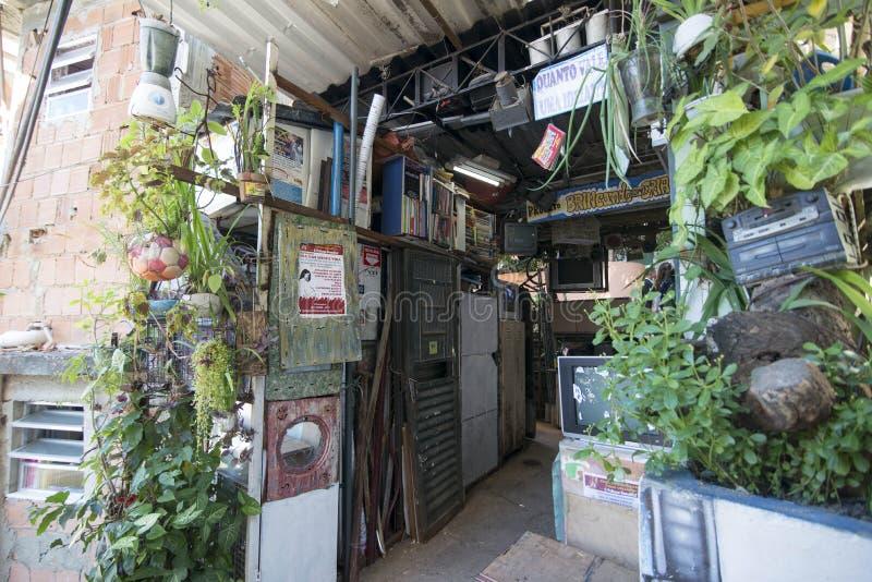 Dona Marta Slum. RIO DE JANEIRO, RJ - BRAZIL, AUGUST, 15, 2015 - Community Santa Marta, first pacified favela in the city of Rio de Janeiro, some social work is royalty free stock photography