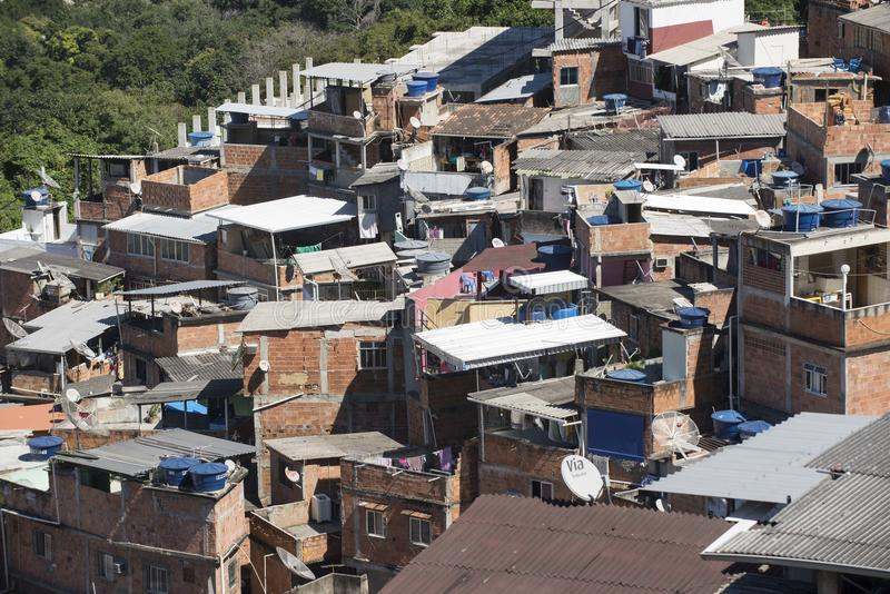Dona Marta Slum. RIO DE JANEIRO, RJ - BRAZIL, AUGUST, 15, 2015 - Community Santa Marta, first pacified favela in the city of Rio de Janeiro, some social work is royalty free stock images