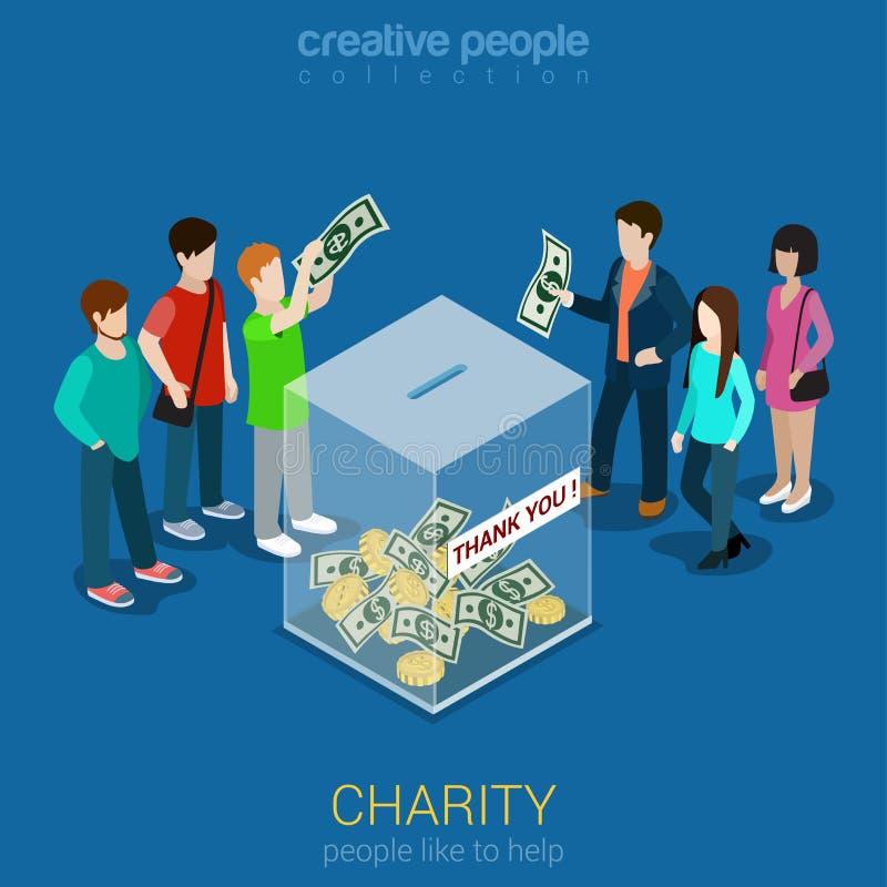 Donación de la caridad que financia el web isométrico plano 3d infographic