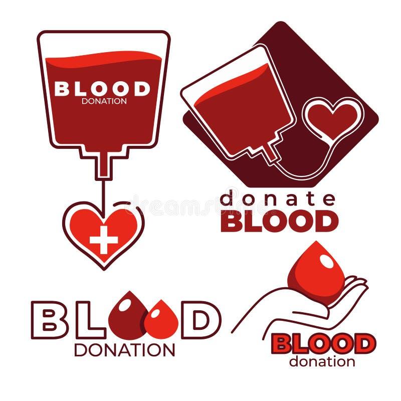 Donación de sangre e iconos aislados caridad corazón y dropper ilustración del vector