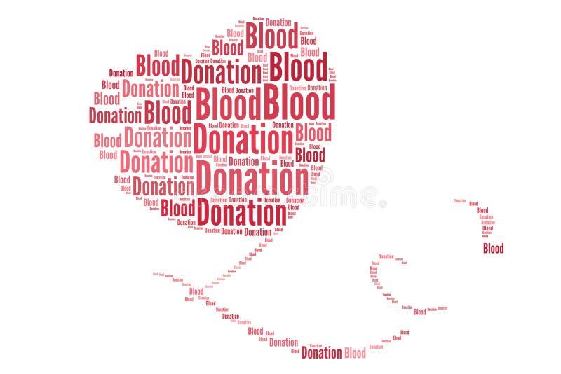Donación de sangre en collage de la palabra imagenes de archivo