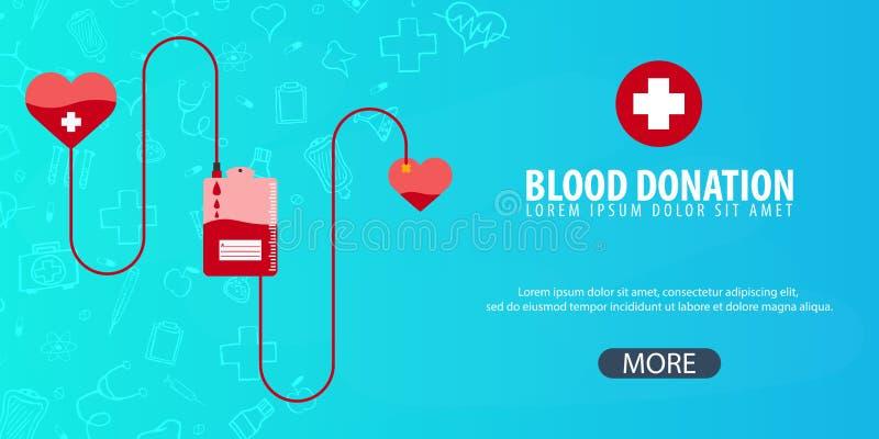 Donación de sangre Fondo médico Cuidado médico Ejemplo de la medicina del vector ilustración del vector