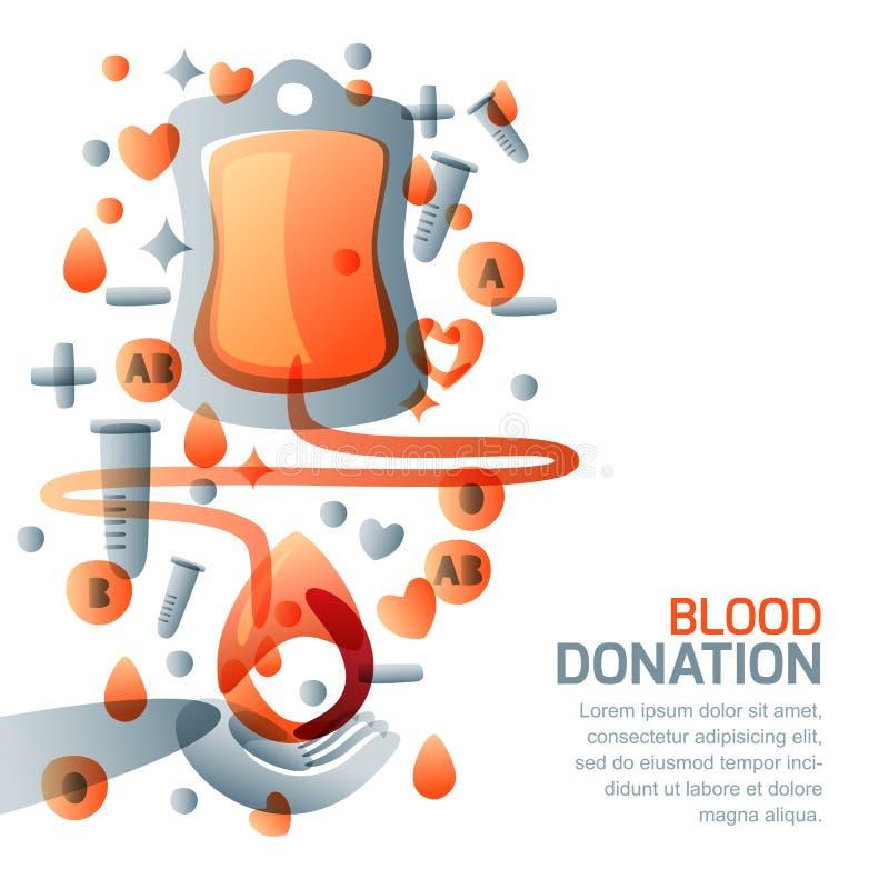 Donación de sangre y concepto de la transfusión Ejemplo médico aislado vector Día del donante de sangre del mundo stock de ilustración