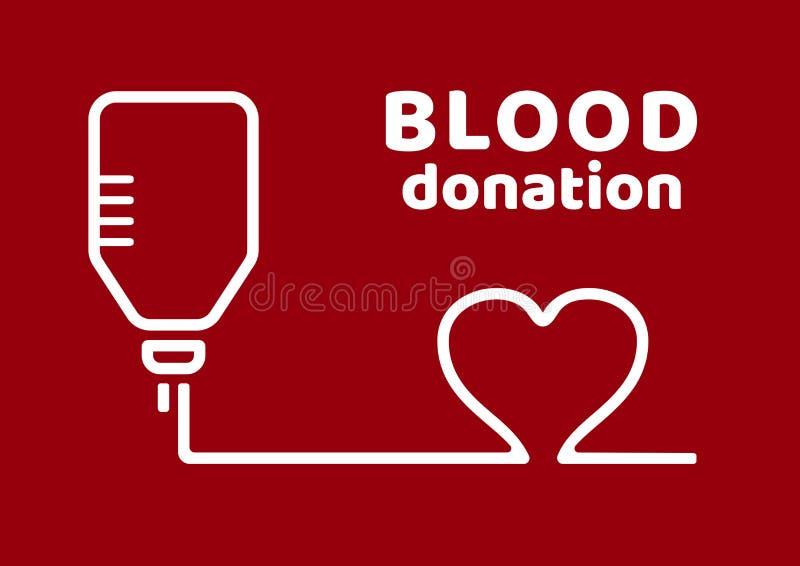 Donaci?n de sangre Cartel negro y rojo en el d?a del donante de sangre del mundo Vector ilustración del vector