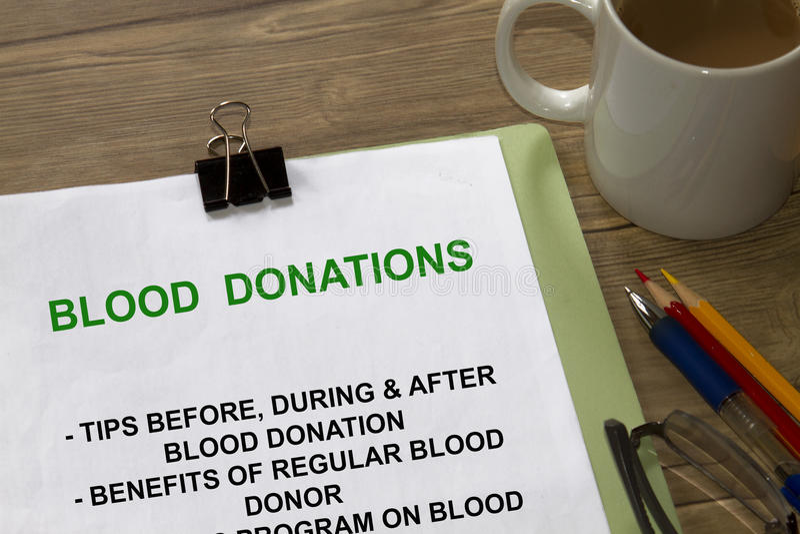 Donaciones de sangre imagenes de archivo