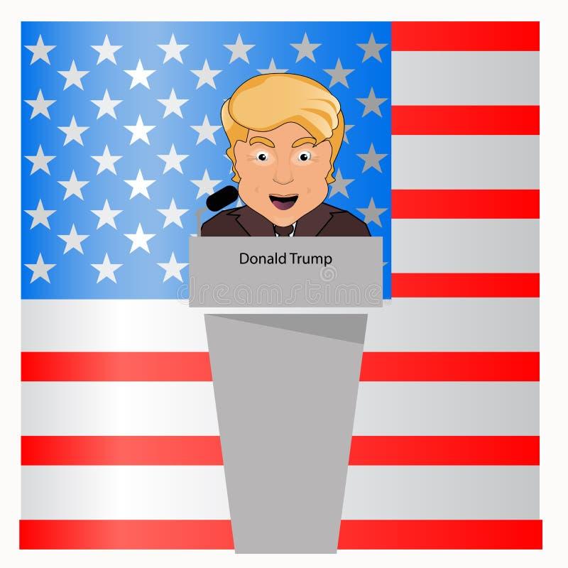 Donald atut prezydent uśmiech za wywiad trybuną w mikrofonie Wybory 2016 Walka sukces Wektorowy illustr ilustracji