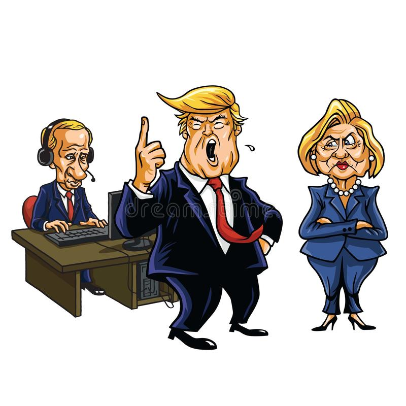 Donald atut, Vladimir Putin i Hillary Clinton kreskówka, Czerwiec 2, 2017 ilustracja wektor
