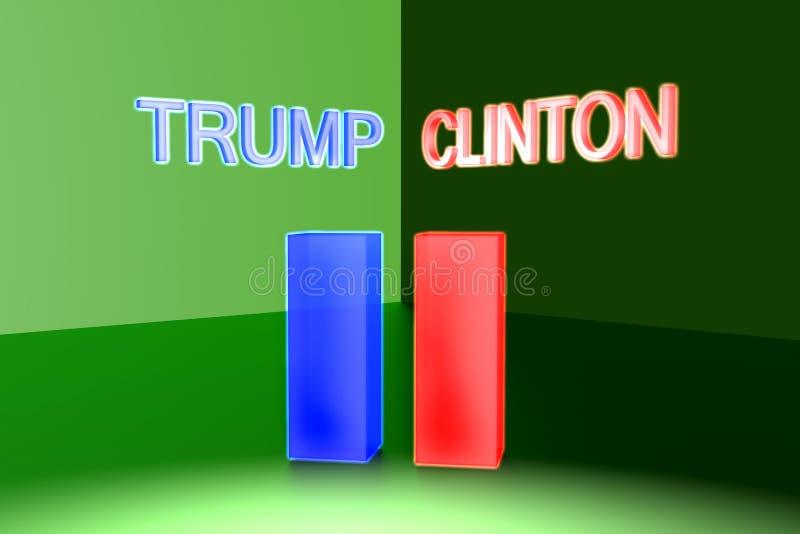 Donald atut vs Hillary Clinton USA wybory 2016 ilustracji