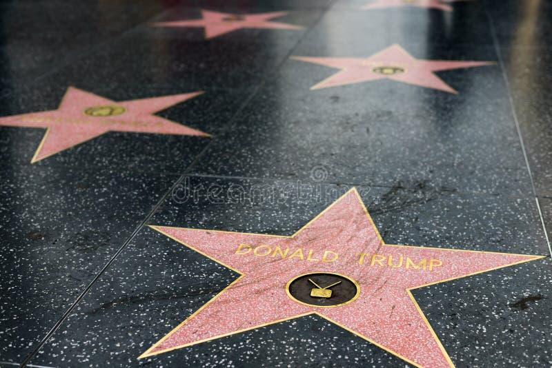 Donald atutu gwiazda na Hollywood spacerze sława zdjęcia royalty free