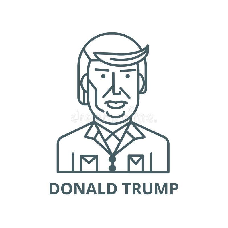 Donald atutu linii ikona, wektor Donald atutu konturu znak, pojęcie symbol, płaska ilustracja ilustracja wektor