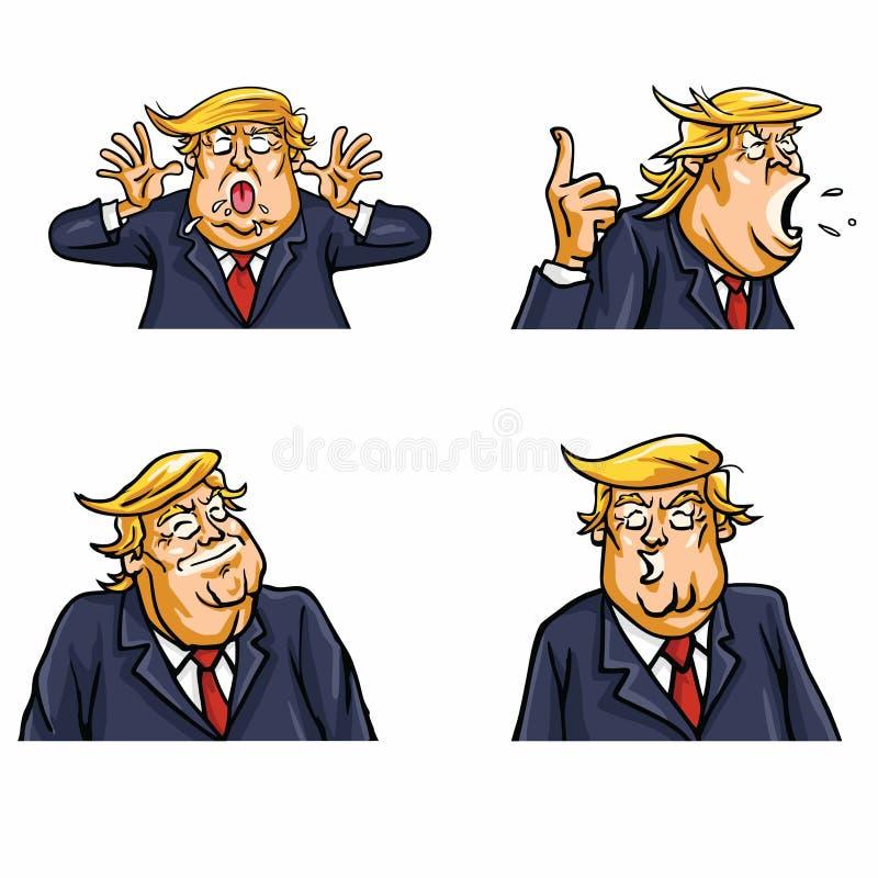 Donald atutu twarzy wyrażenie Ustawiająca paczka royalty ilustracja