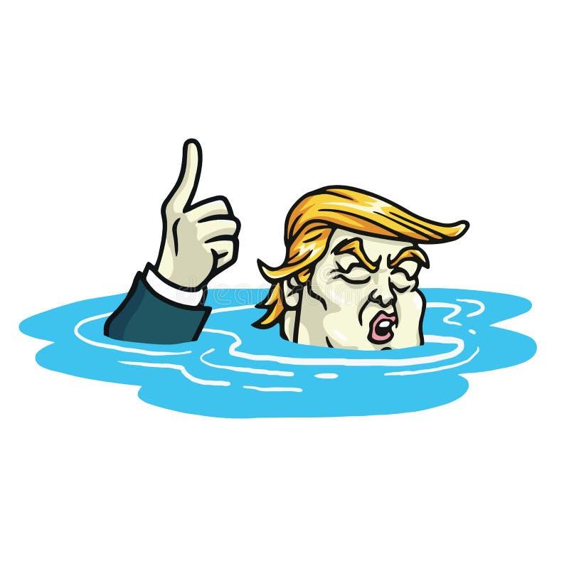 Donald atutu zmiany klimatu Paryska zgoda Kreskówka wektor Czerwiec 1, 2017 royalty ilustracja