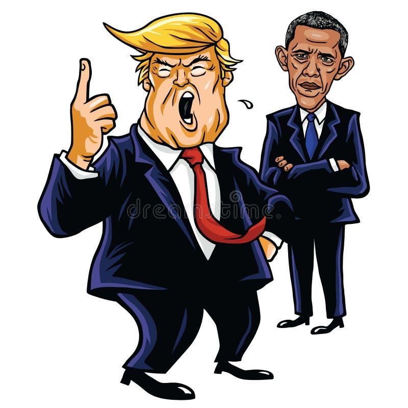 Donald Barack Obama i atut Kreskówki karykatury wektoru ilustracja Czerwiec 29, 2017 ilustracji