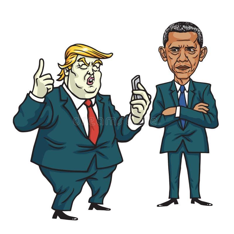 Donald Barack Obama i atut obcy kreskówki kota ucieczek ilustraci dachu wektor Czerwiec 28, 2017 ilustracja wektor