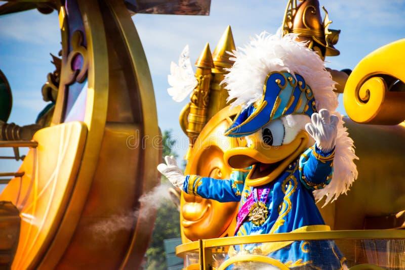 Donald Duck in editoriale di Disneyland Parigi fotografia stock