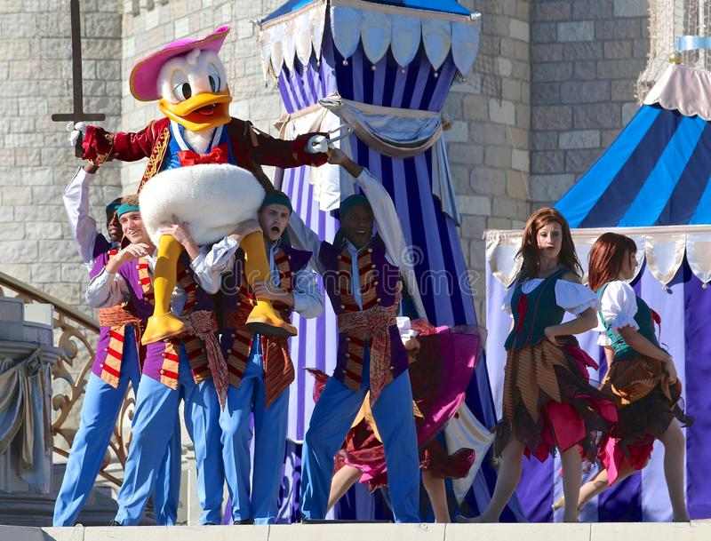 Donald duck and friends at Disneyworld. Donald duck and friends on stage at Disney's Magic Kingdom in Orlando, Florida stock images