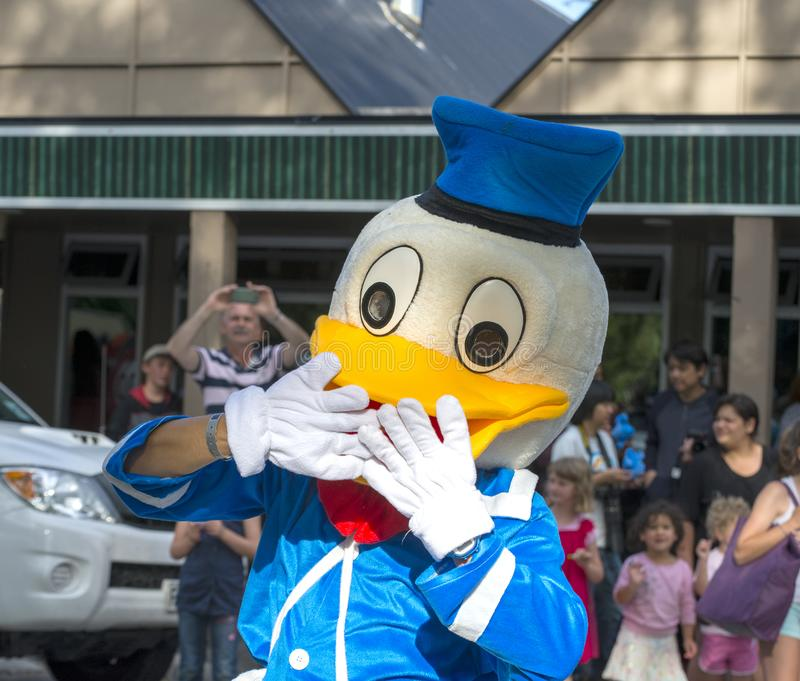 Donald Duck at the Hanmer Springs Christmas parade royalty free stock image