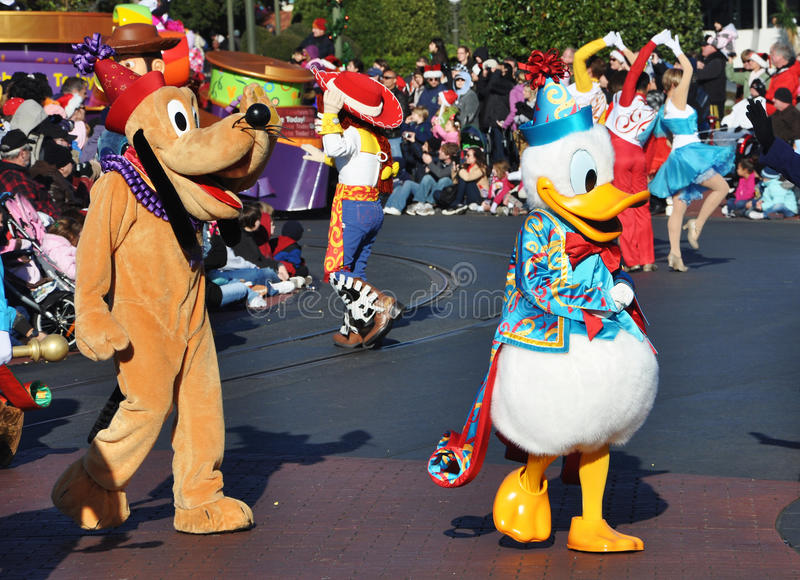 Donald Duck And Pluto In Disney Parade Editorial Stock Photo