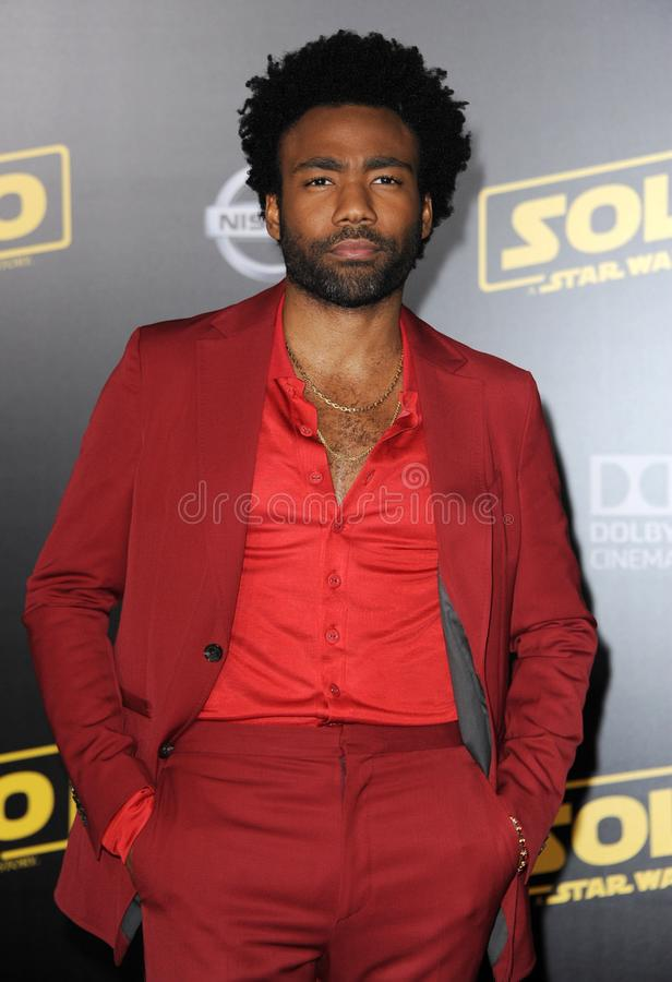 Donald Glover. At the premiere of Disney Pictures and Lucasfilm`s `Solo: A Star Wars Story` held at the El Capitan Theatre in Hollywood, USA on May 10, 2018 royalty free stock image