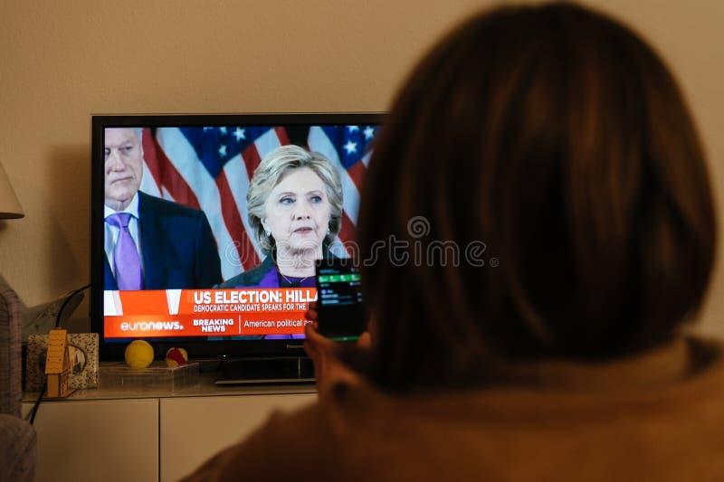 Donald J Notícia nova do presidente tevê dos EUA do trunfo fotos de stock royalty free