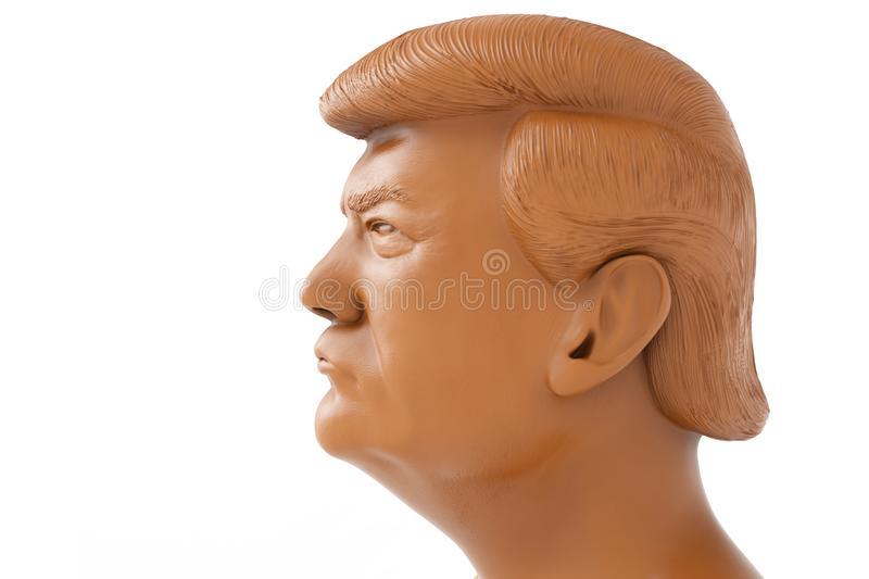 Donald John Trump. President of the United States. 3d render made of chocolate illustration royalty free illustration