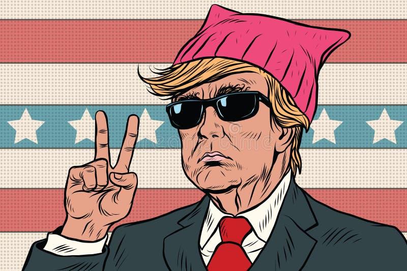 Donald Przebija prezydenta, feministka różowi kicia kapelusz ilustracja wektor