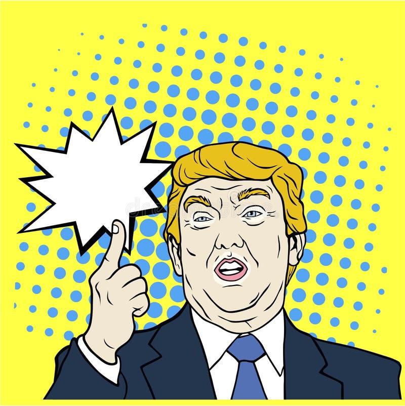Donald Przebija 45th prezydent stanów zjednoczonych, wystrzał sztuka, Płaska projekta wektoru ilustracja ilustracji