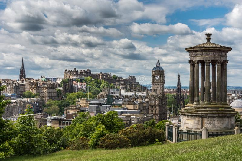 Donald Stewart Monument op Calton-Heuvel, Edinburgh, Schotland, het UK royalty-vrije stock foto