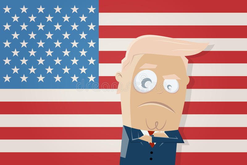 Donald trump with american flag clipart. Clipart of donald trump with american flag royalty free illustration