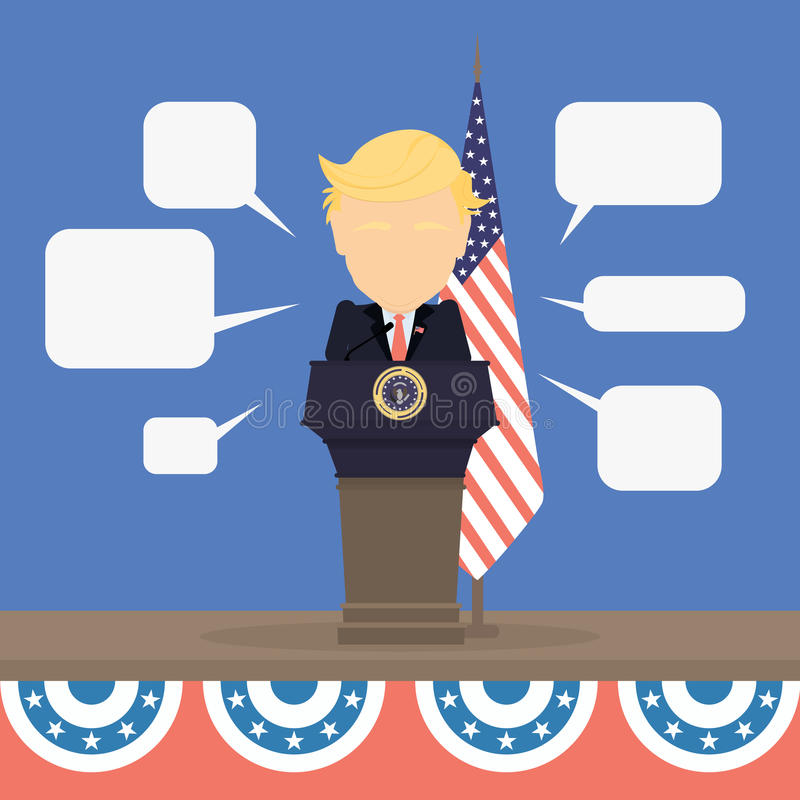 Donald Trump with american flag. royalty free illustration