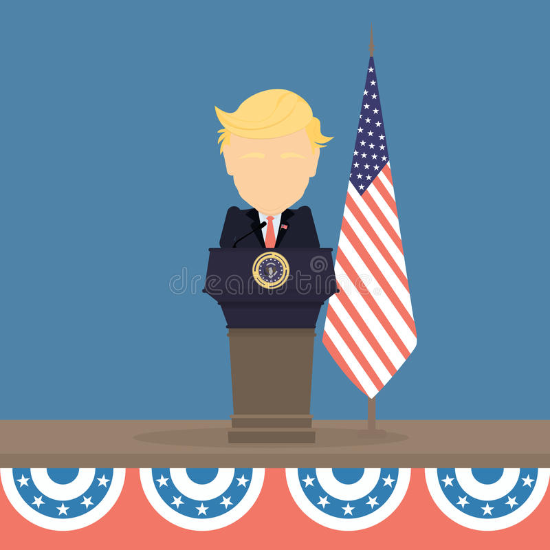 Donald Trump with american flag. Russia November. 21, 2016 Donald Trump with american flag and tribune. New american president is Donald Trump vector illustration