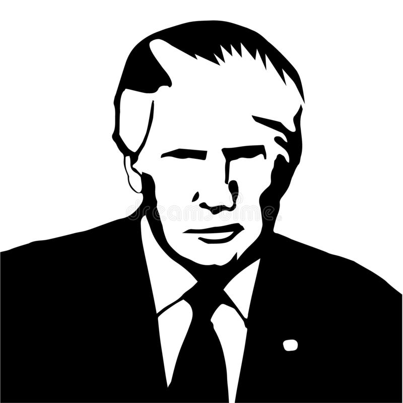 Donald Trump as president of United States black-white. Donald Trump as president of United States of America black-white royalty free illustration