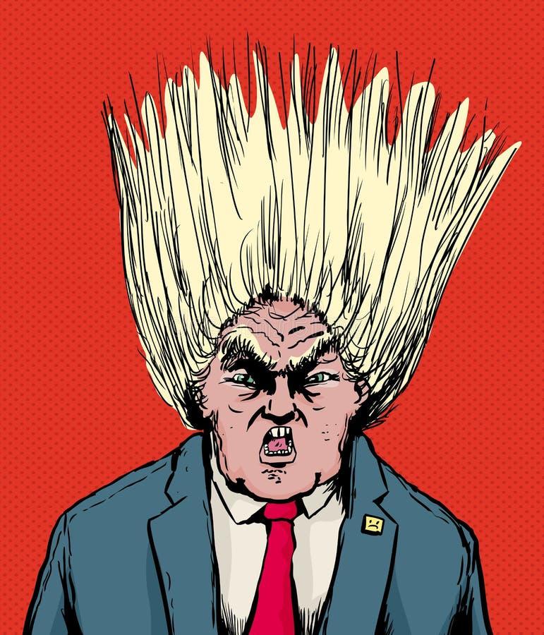 Donald Trump avec des cheveux soufflant illustration stock