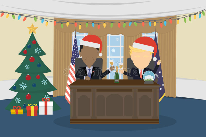 Donald Trump, Barack Obama. Russia December 12, 2016 Donald Trump, Barack Obama in White House and santa hat royalty free illustration