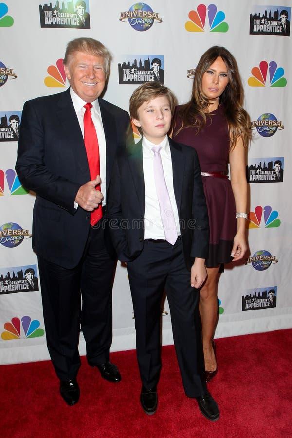 Donald Trump, Barron Trump, Melania Trump immagine stock libera da diritti