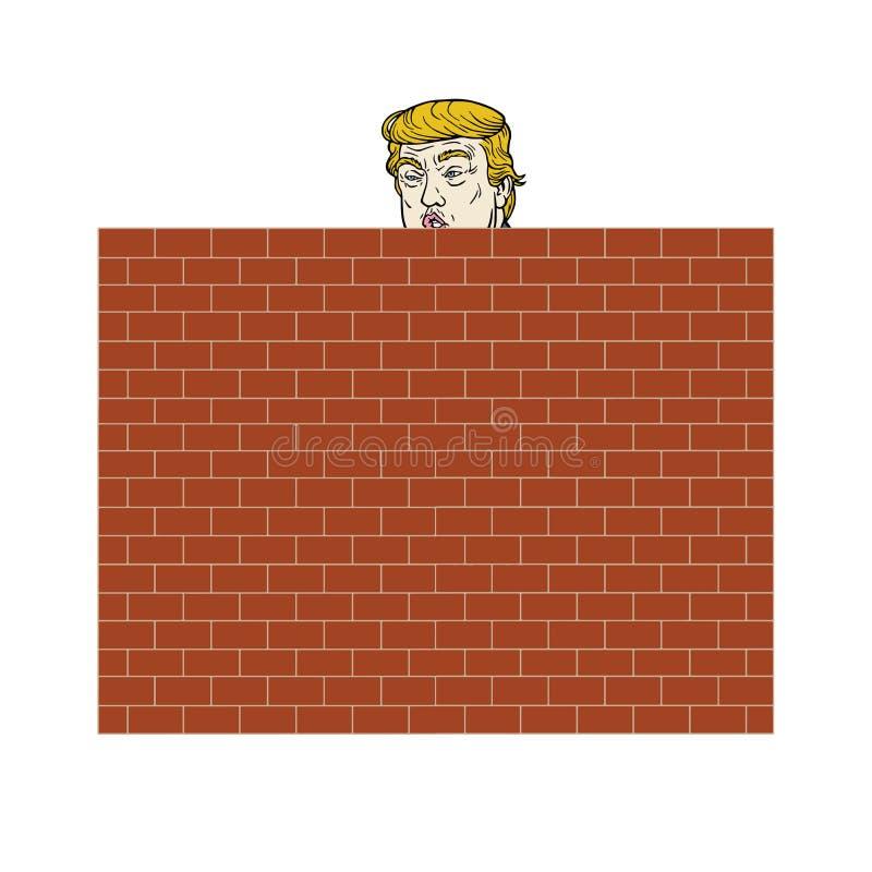 Donald Trump Behind uma ilustração do vetor da parede de tijolo ilustração royalty free
