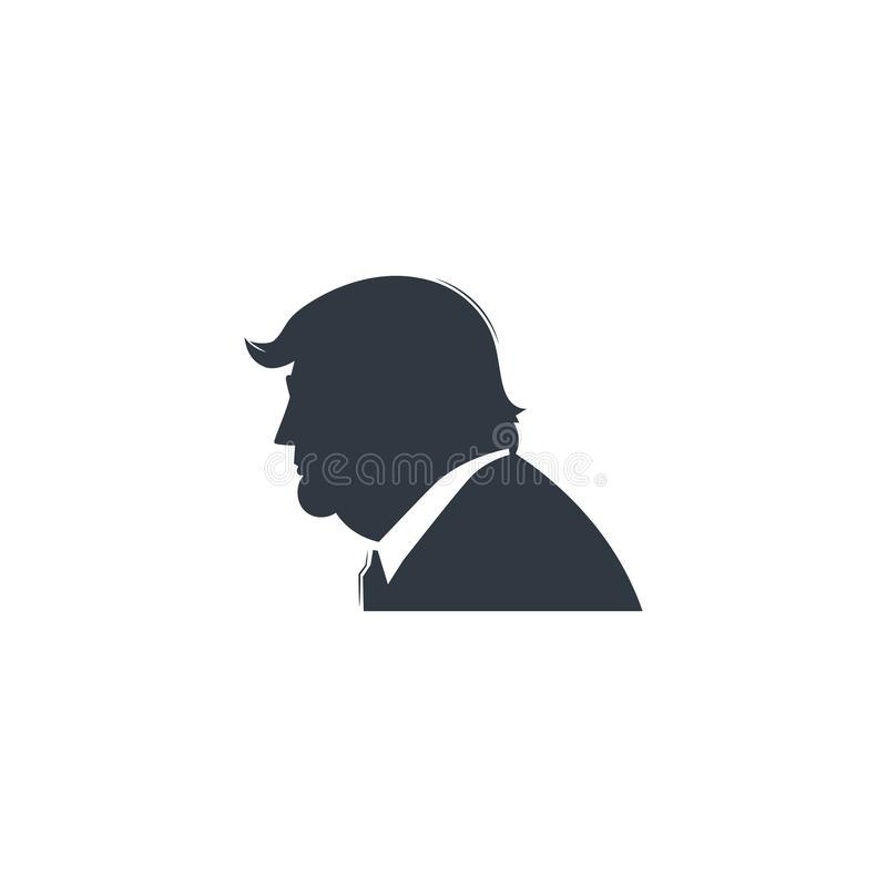 Donald Trump black silhouette. Donald Trump black silhouette on white background. Forty-fifth American president. Template for your design vector illustration