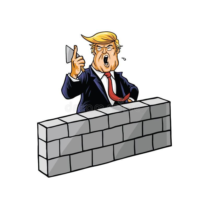 Donald Trump Build uma parede ilustração royalty free