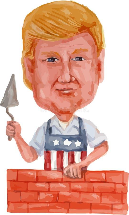 Donald Trump Building uns desenhos animados da parede ilustração stock