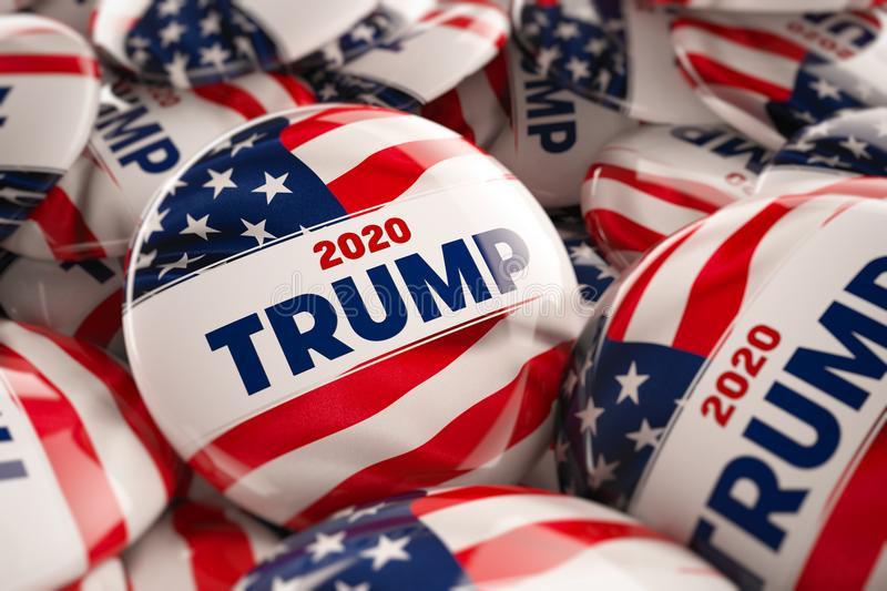 Donald Trump 2020 Campaign Buttons. WASHINGTON, DC - APRIL 25, 2018: Illustration of presidential campaign buttons of Donald Trump with very shallow depth of stock illustration