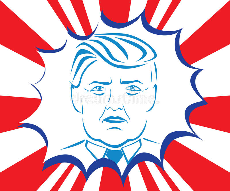 Donald Trump caricature. Presidential candidate Donald Trump stylized portrait. Illustrative editorial vector royalty free illustration
