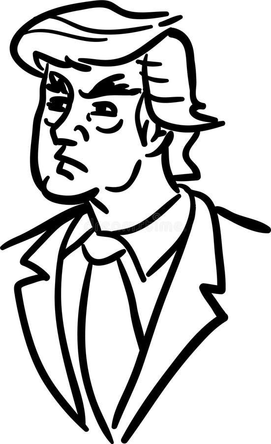 Donald Trump Caricature Retrato desenhado à mão do vetor da garatuja dos desenhos animados do presidente dos E.U. ilustração royalty free