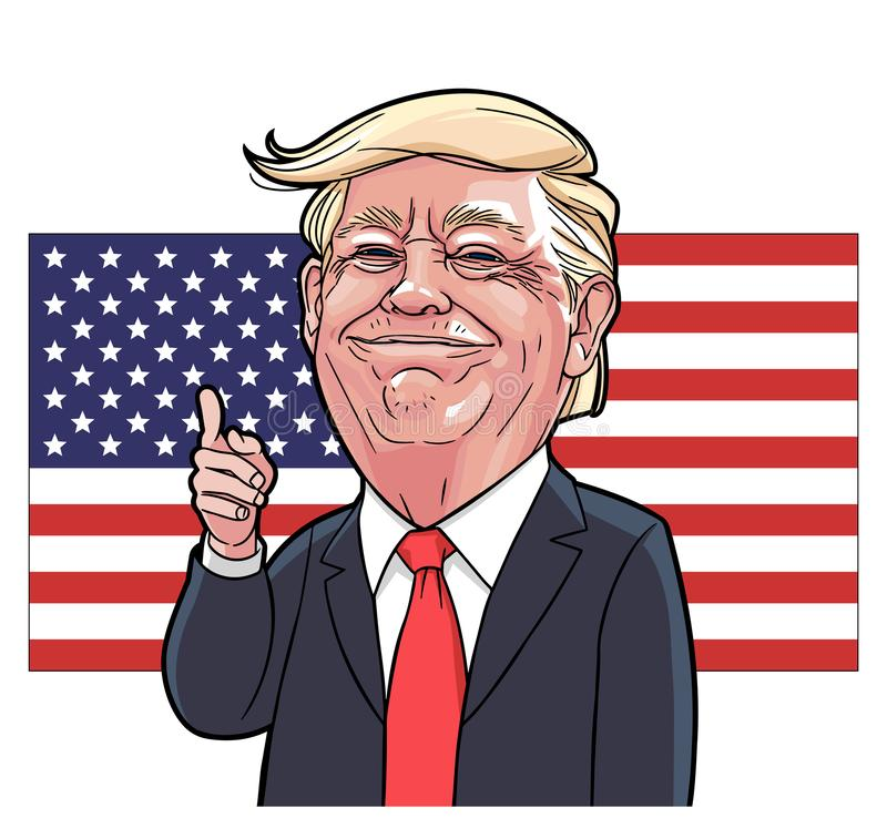 Donald Trump caricature vector. With layers royalty free illustration